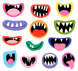Funny vector monster mouths, open and closed with tongues and teeth for birthday party designs