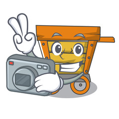 Photographer wooden trolley mascot cartoon