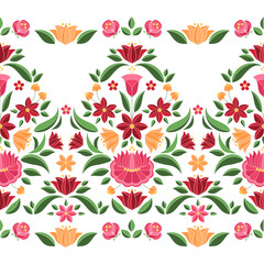 Hungarian folk pattern vector seamless border. Kalocsa embroidery floral ethnic ornament. Slavic eastern european print isolated. Vintage traditional flower design for woman clothing.