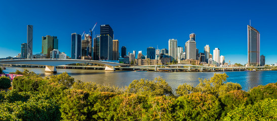 BRISBANE, AUSTRALIA AUG 12 2018: Panoramic view of Brisbane from South Bank over the river.
