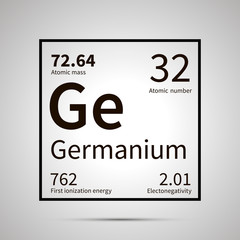 Germanium chemical element with first ionization energy, atomic mass and electronegativity values ,simple black icon with shadow