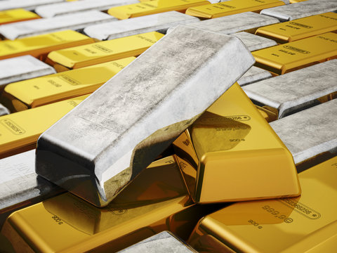 Gold and silver ingots isolated on white background. 3D illustration