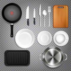 Kitchen Utensils Realistic Transparent