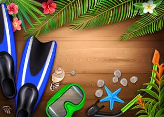Diving Accessories Realistic Tropical Background