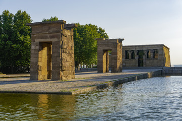 Madrid Spain Temple of Debod. Egyptian temple dismantled from Aswan and rebuilt to Madrid's Cuartel de la Montana Park.