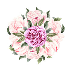 Watercolor bouquet with peony.