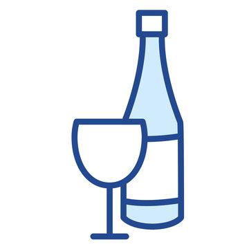 Weinglas, mit Flasche Vector Icon Illustration