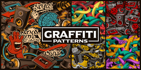 Foto op Canvas Graffiti Set of seamless patterns with graffiti art