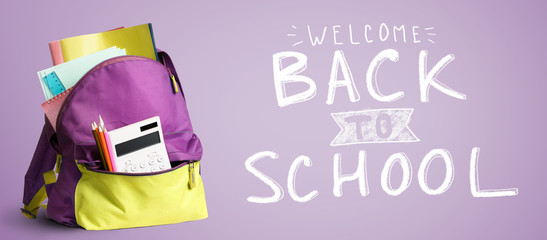 Back to school shopping backpack. Accessories in student bag against chalkboard