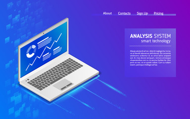 Analysis of information on laptop. Monitoring and statistics data procesing. Abstract analytics system isometric illustration. 3d landing page layout, web banner.