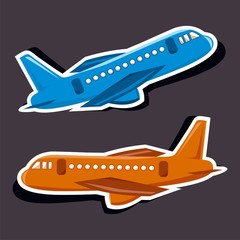 Vector illustration of a cartoon stickers of flying objects - airplane