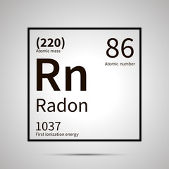 Radon chemical element with first ionization energy and atomic mass values ,simple black icon with shadow