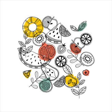 Fruit composition. Scandinavian style illustration.