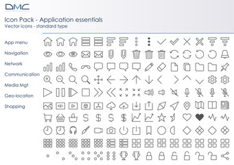 Icones applicatives - outline - pack essentiel 1