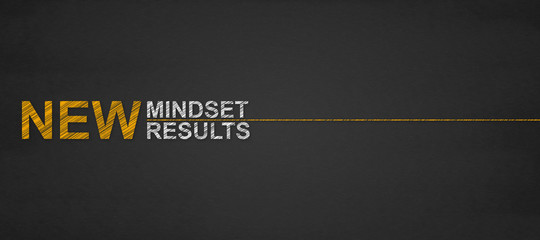text new mindset new results on a blackboard. success and personal development concept