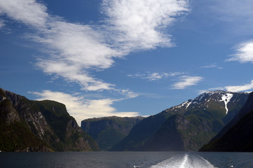 Mountains and fjord. Norwegian nature. Sognefjord. Flam, Norway