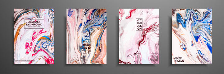 Abstract painting, can be used as a trendy background for wallpapers, posters, cards, invitations, websites. Modern artwork. Marble effect painting. Mixed blue, red and pink paints.