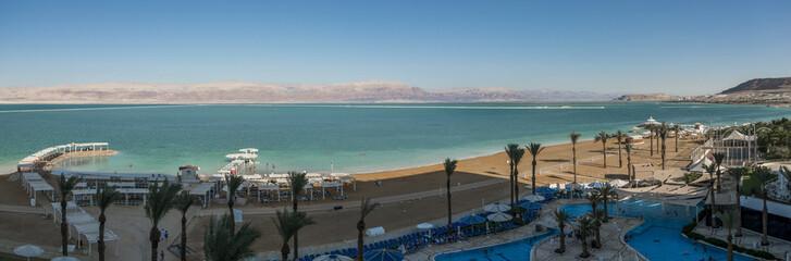 Panoramic view the dead sea from Ein Bokek beach shore