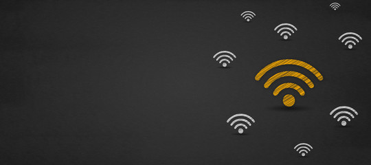Free wifi concept, wifi icon symbol on a blackboard