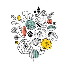 Summer flower bouquet composition. Linear graphic. Florals background. Scandinavian style. Vector illustration