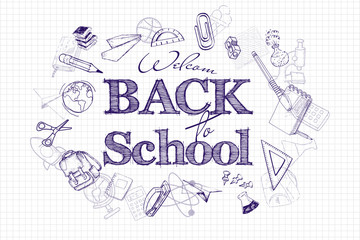 Back to school poster, education background. Back to the school lettering on the background of school notebooks and drawn icons