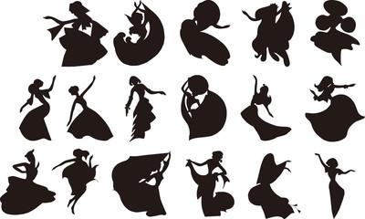 踊る女性のシルエット