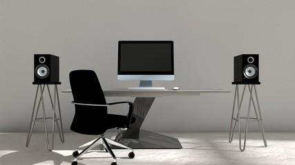3D illustration of interior design of computer setup