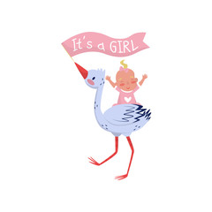 Stork holding flag in beak and cheerful baby girl on back. Bird and child. Flat vector element for postcard or banner