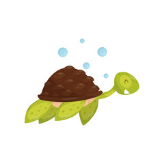 Flat vector icon of swimming turtle. Marine animal. Green tortoise with happy muzzle. Element for children book or sticker