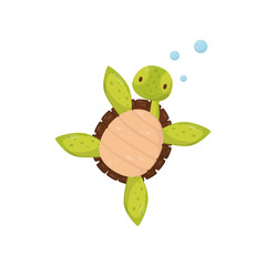 Cute swimming turtle. Cartoon character of marine reptile. Sea and ocean life theme. Flat vector element for t-shirt print or postcard