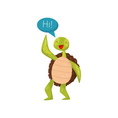 Friendly green turtle waving flipper and saying Hi. Cartoon marine reptile with brown shell. Flat vector for postcard or sticker