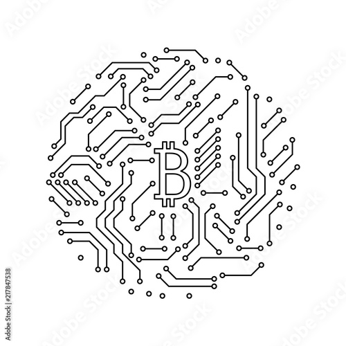 Enjoyable Printed Circuit Board Black And White Bitcoin Round Shape Symbol Wiring 101 Swasaxxcnl