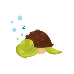Flat vector icon of cute sleeping turtle. Marine animal. Green tortoise with brown shell. Element for children book or sticker
