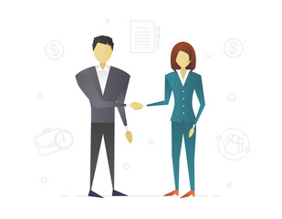 Businessman and businesswoman making deal flat character design