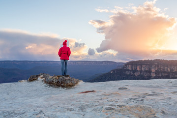 Female enjoying magnificent views Blue Mountains Australia