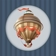 Balloon retro blimp ship with flag greeting card frame