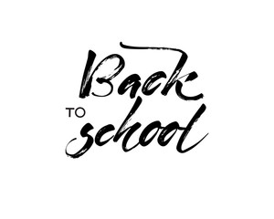 Back to school banner hand letterins Vector illustration. white background