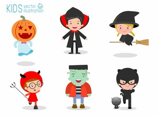 Halloween kids costume party on white background, Group of child in Halloween costume jumping, Happy Halloween,children Halloween, kids Halloween,vector illustration