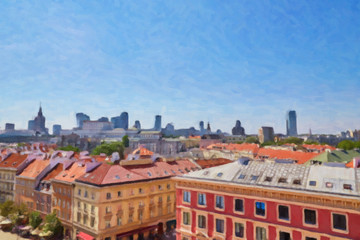Painting on canvas of the Poland capital Warsaw view from above