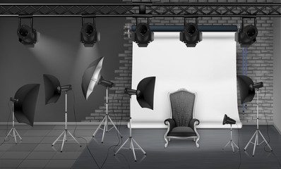 Vector photo studio interior with empty armchair, gray brick wall, white projector screen, spotlights and softboxes on tripods. Mockup with modern lighting equipment for professional photography