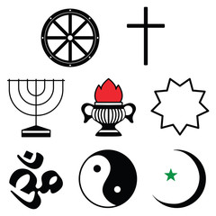 World religion symbols set on white background