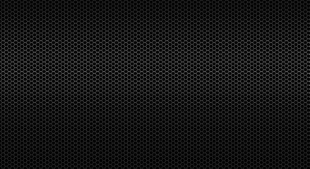 Black background of perforated metal sheet. Wall mural
