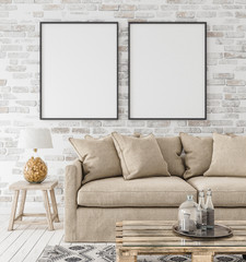 Mock-up frame in interior background,Scandinavian style, 3d render