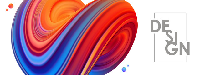 Vector illustration: 3D Blue and red colored abstract twisted fluide shape on white background. Trendy banner design.