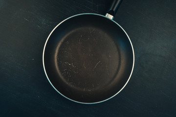 Used old empty frying pan skillet top view