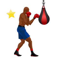 Afro-american boxer boxing punchball in blue shorts and red gloves vector illustration. S