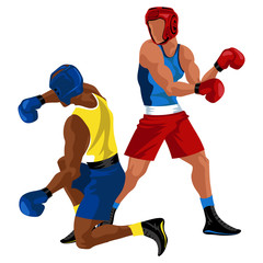 Two boxers fighting. Battle spectacle event with knockdown between professional sportsmen in sportswear vector illustration.