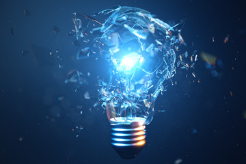 3D Illustration Exploding light bulb on a blue background, with concept creative thinking and innovative solutions.