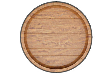 Wine, beer, whiskey, wooden barrel top view of isolation on a white background. 3d illustration