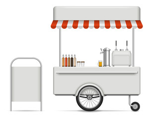 Realistic vector food cart on white background for branding, corporate identity. View from right side, easy editing and recolor